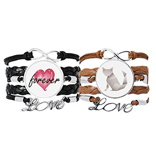 DIYthinkerOrigami Geometric Abstract Cat Pattern Bracelet Hand Strap Leather Rope Forever Love Wristband Double Set