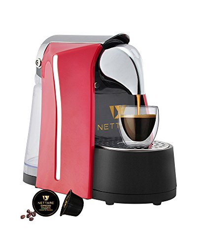 Nettare Prima Domestic Gourmet Italian Single Serve Automatic Espresso Coffee Pod Machine with One Touch, Red - - Works Only with Nettare Capsules
