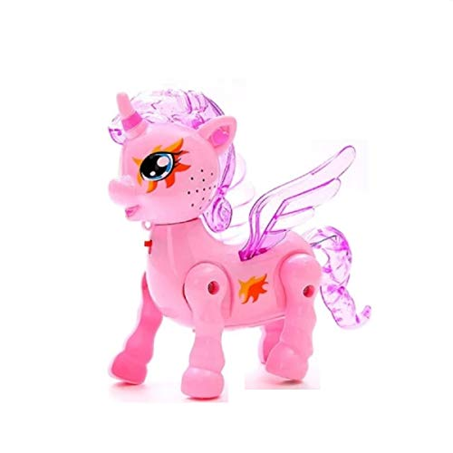 Clickedia Electronics Walking Unicorn with Battery Section to Insert Battery Pink Color with Light in it Which Works While Working. (Pack of 1)