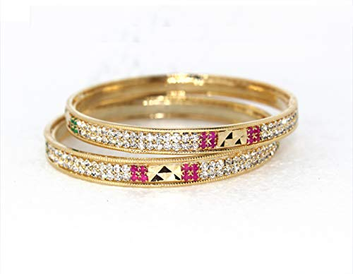 Glow Gold Plated Cubic Ziroconia Stone Studded Traditional Designer Bangle Bracelet Set of 2 for Women and Girls | Latest Design Bangles | Wedding Jewellery | Gift fo Her (Size 2.4)