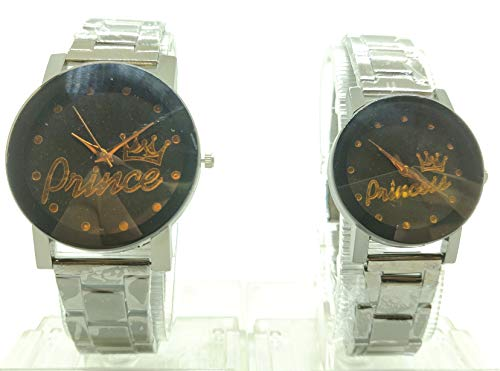 Ashish Traders Men's and Women's Analogue Couple Watch (Pack of 2, Black Dial)
