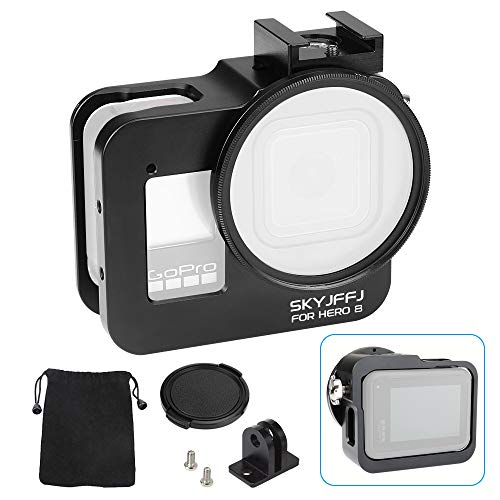 skyjffj Aluminium Housing Case Alloy Protective Skeleton Frame with 52mm UV Filter and Lens Cap for Gopro HERO8 Black Action Camera Black with Rear Door Lock ,Lightweight