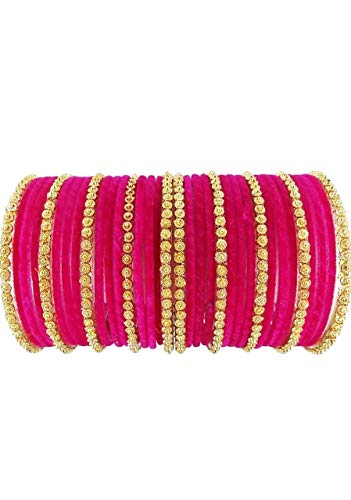 The Maruti Shop Pink Glass Chudas Set For Women And Girls (Pack of 34) (Pink, 2.4)