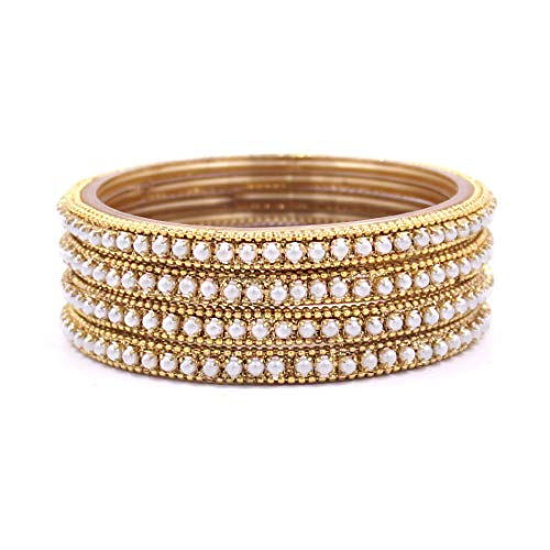 Set of 4 Glass Bangles with Running White Beads by Leshya (Golden, 2.40)