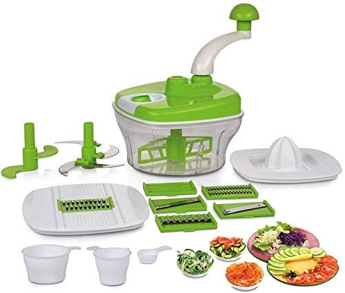 Aahna E Mall 10 in 1 Plastic Manual Food Processor/Dough Maker/Atta Maker/Vegetable Cutter/Slicer/Grater/Cutter (Multicolored)