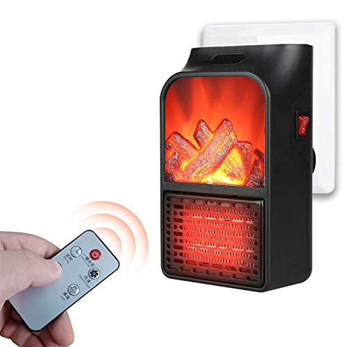 PAGALY Portable Flame Space Heater with Remote Control Mini Personal Winter Warmer for Home Office Use (900W - Black)