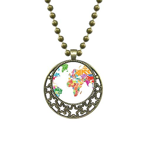 DIYthinkerMutlicolour World Map Countries Name Pendant Star Necklace Moon Chain Jewelry