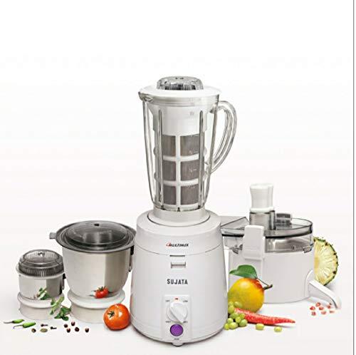Sujata Multimix, Mixer Grinder with Juicer & Coconut Milk Extractor Attachment, 900 Watts, 3 Jars, (White)