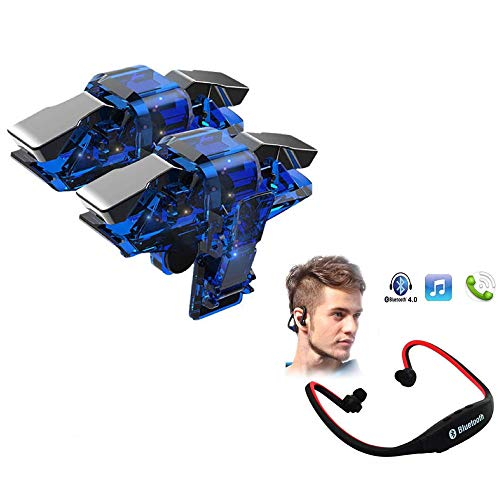 I-Birds Enterprises i-Birds Upgrade Mobile Trigger Controller Joystick Sensitive Click Shoot and Aim Button L1R1 Game Accessory & Bluetooth BS19C in-Ear Earphone Neckband HandFree for Android & iOS Smartphone (Assorted)