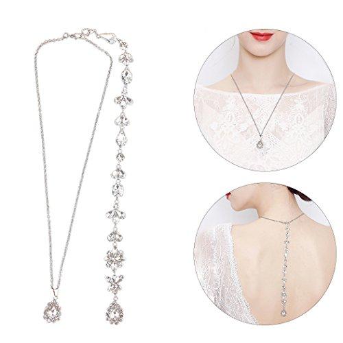 Fascigirl Back Necklace Fashion Rhinestone Decor Back Drop Bridal Necklace Wedding Necklace for Wedding Prom