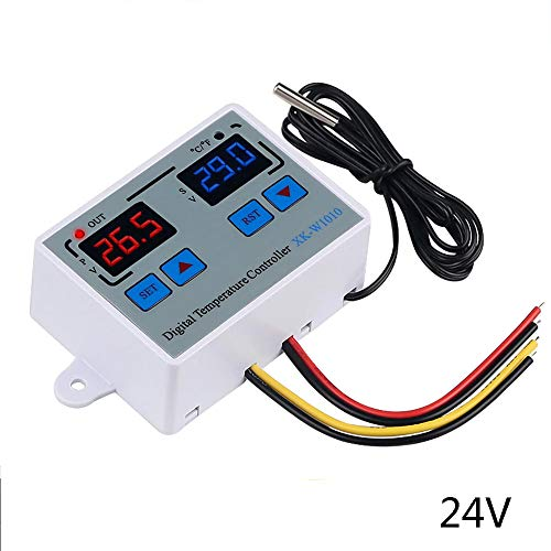 KKmoon Digital Thermostat C/F Temperature Controller for Incubator Relay LED 10A Heater Cooler Direct Output XK-W1010 DC24V