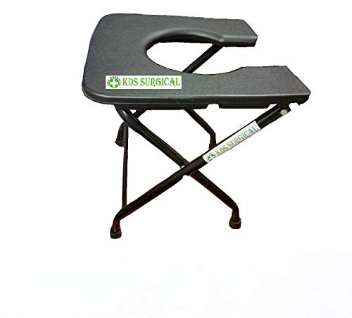 Kds Surgical Elderly Disabled Man And Pregnant Woman Iron Shower And Bathing Room Mobile Commode Chair With Toilet Seat Comfortable Safe Toilet Stool Anti-Skid Without A Bucket