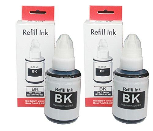 Gocolor Compatible (Gi790) Refill Ink Bottles for Can G Series Pixma 1000,1010,1100,2000,2002,2010,2012,2100,3000,3010,3012,3100,4000,4010 Printer 2 Black Bottle
