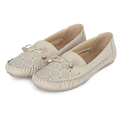 FASHIMO Women's Loafers Bellies MS13-Cream-37