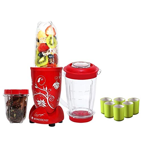 Wonderchef Nutri-Blend Mixer Grinder 400W 3 Jars (Red) with Free Serving Glass Set