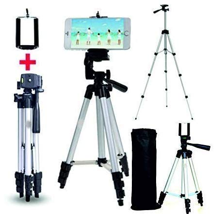 Gadget Place 3110 105cm Long Camera Tripod for Action Cameras Having 3-Way Pan & Tilt (with Free Attachments)