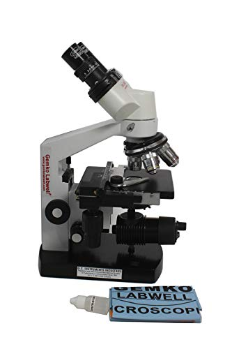 GEMKO LABWELL Gemkolabwell G-S-725-71 Metal White 2000X Led Cordless Binocular Lab Microscope with Battery Backup