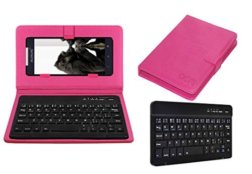 Acm Wireless Bluetooth Keyboard Case Compatible with Iberry Auxus Nuclea N1 Mobile Flip Cover Stand Study Gaming Pink