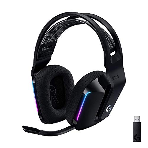 Logitech G733 Lightspeed Wireless Gaming Headset with Suspension Headband, LIGHTSYNC RGB, Blue VO!CE mic Technology and PRO-G Audio Drivers - Black