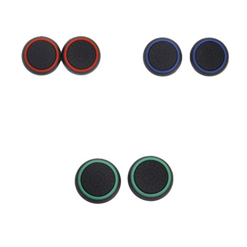 Microware 3pairs Thumbstick Silicone Caps for PS4 Controller -Red Blue Green