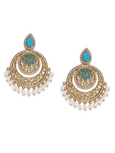 Zaveri Pearls Antique Gold Tone Filigree Design Chandbali Earring For Women-ZPFK8608
