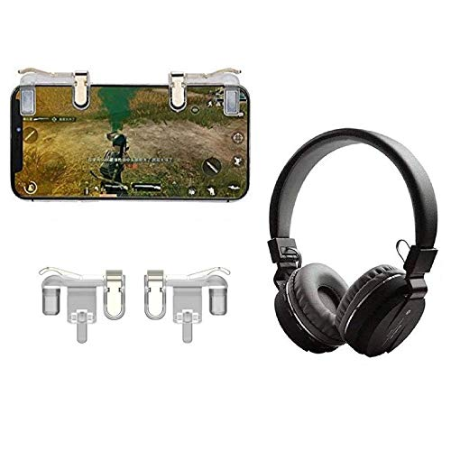 PUNIX®- Mobile Trigger Controller Joystick Sensitive Click Shoot and Aim Buttons L1R1 Game Accessory & Universal SH12 Bluetooth Headphone with FM SD Card Slot AUX Music & Calling Controls (Assorted)