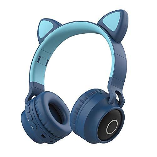 KKmoon LED Cat Ear Wireless Headset RGB 3-Color Lights Noise Cancelling BT 5.0 Foldable Earphone TF Card/Radio 3.5mm Plug Blue+Green