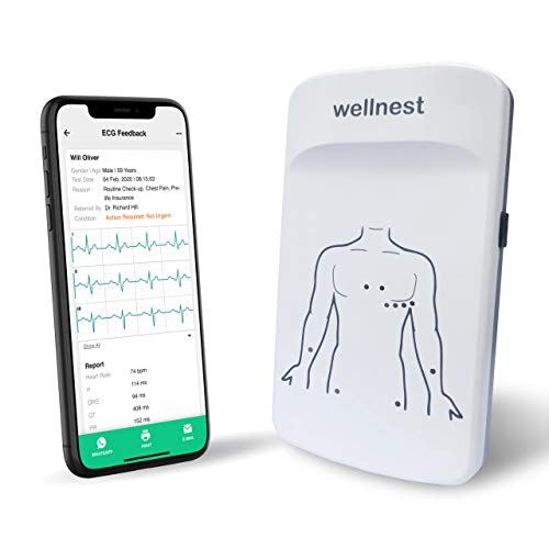 12 Lead Simultaneous, CE-certified, Portable, Bluetooth/App-based/Tele- ECG Machine (Wellnest® 12L Standard) with ECG Accessories and Optional Reporting.