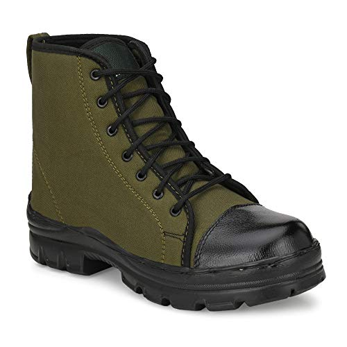 SHOE DAY GREEN JUNGLE BOOT-BIS/ISI CERTIFIED LIGHT WEIGHT,PU ANTI-SKID,HIGH ANKLE,EXTRA SOFT INNER-SOLE WITH DUST PROOF BAG AND TOR POLISH