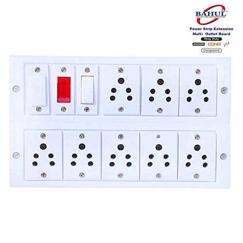 Mr. BAHUL Mr.BAHUL Power Strip Extension Multi Outlet Board Fitted with 8 Anchor Sockets(5 Amp) with 4 Metre Chord with 15 Amp Plug