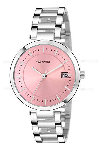 Timesmith Pink Dial Silver Stainless Steel Analog Watches for Girls TSC-099 ktd2
