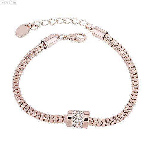 ELECTROPRIME F7E6 Women's Rhinestone Rose Gold Plated Crystal Bracelet Bangle Elegant Jewelry