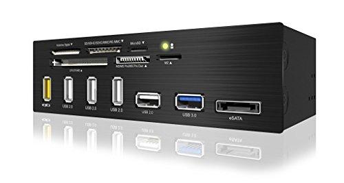 EZDIY 5.25 inch USB 3.0 Multi-Card Reader with USB Charging Port 6-slot Card Reader 1x USB 3.0 4x USB 2.0 1x eSATA USB-Charging port
