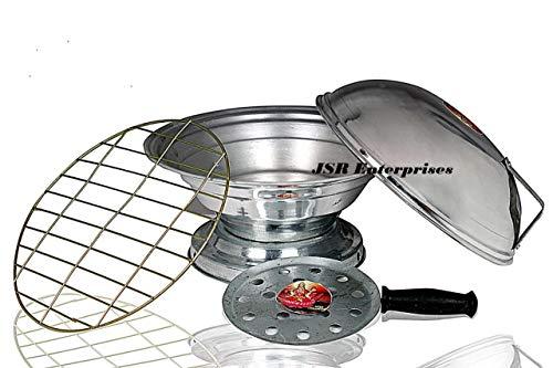 Shiv Tandoor Bati Maker Baking Oven, 25 x 25 x 35 cm, 1 Piece, Silver Gas Tandoor, Barbecue Grill Food Steamer Cookware Set (Aluminium, 1 - Piece).