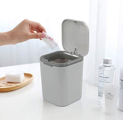 Jukkre Plastic Mini Table Rocking Cover Trash Can Dustbin Sundries Car Garbage Can Desktop Trash Dust Bathroom Household Garbage Bin