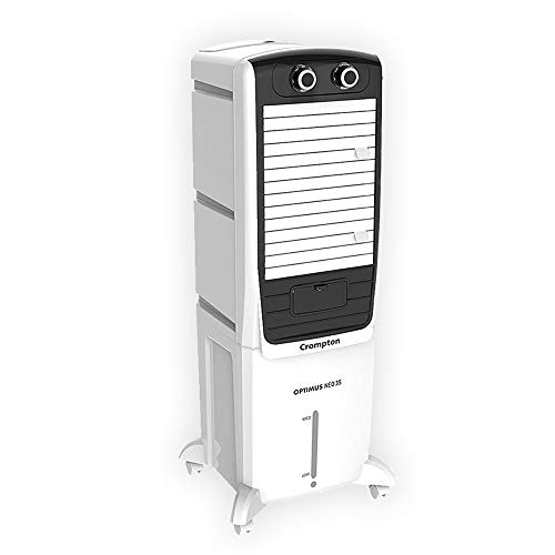 Crompton Optimus Neo 35-litres Tower Cooler with Honeycomb Pads(White and Black)