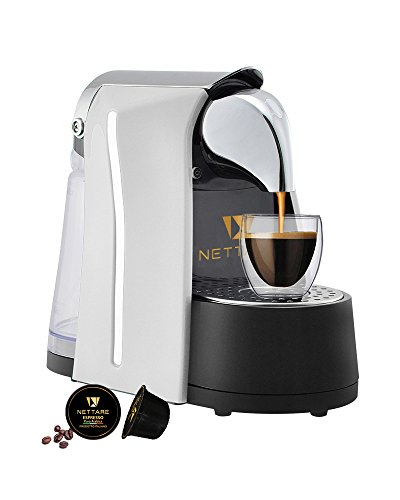 Nettare Prima Domestic Gourmet Italian Single Serve Automatic Espresso Coffee Pod Machine with One Touch, White - Works Only with Nettare Capsules