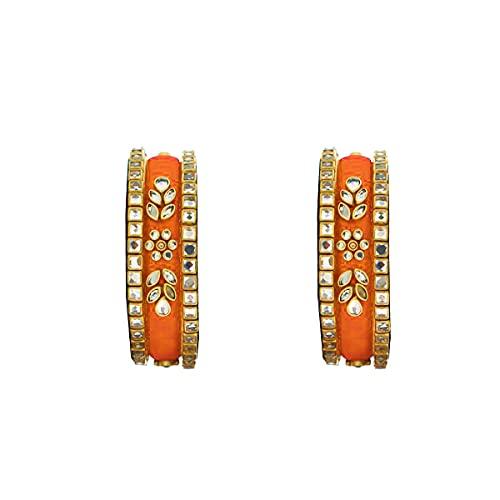 fascinar silk thred red colour kangan set (pair of 6 bangles) (ORANGE, 2.8)