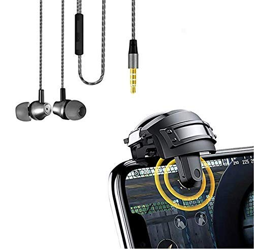 PROTAQ Helmet Joystick for PUBG Game Trigger Fire Button L1 R1 Mobile Phone Game Shooter&Mouse Click. with 208 Earphone Wired Stereo HD Bass Hands-Free Wired Headset with mic for Calling.(Item.2)