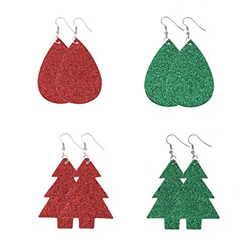 HEALLILY Christmas Tree Earrings Shiny PU Leather Ear Jewelry Handmade Eardrops for Girls Ladies Teens 8Pairs