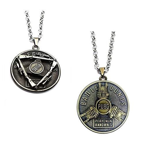 LADY HAWK Pubg Game Key Silver Sniper Gun and Brass Body Armor Jacket Rotating Metal Ring Pendants with Chain. Set of 2 Pieces.