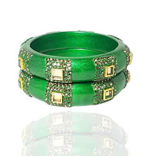 WBF-Jaipuri Designer Indian Traditional Lac Bangles Set Kadaa for Women and Girls Studded with Diamonds (Set of 2 ) Green Pearl (2.6)