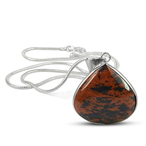 Reiki Crystal Products AAA Mahogany Obsidian Pendant Drop Shape Crystal Stone Locket - Pendant with Metal Chain for Reiki Healing and Crystal Healing Gemstone for Unisex (Color : Black & Red)