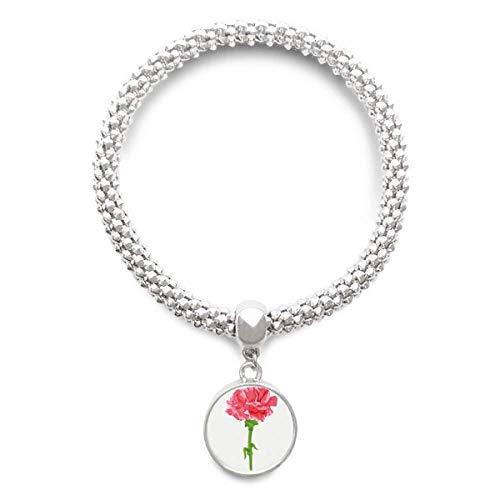 DIYthinkerFlower Carnation Plant Leaves Sliver Bracelet Pendant Jewelry Chain Adjustable Bangle