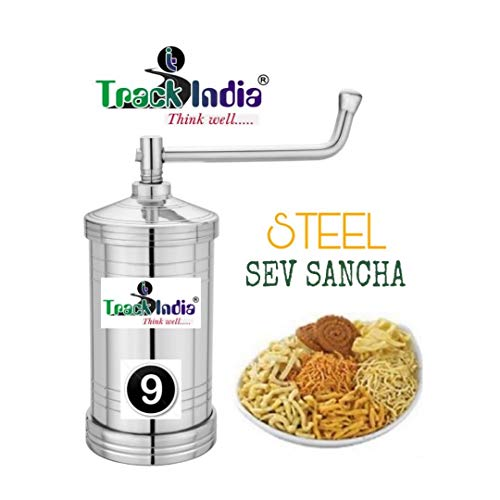 TrackIndia Enterprise Stainless Steel Sev Sancha with SS Nut/Chakli/Murruku Maker/Sev Maker with 6 Different Size Jalis (Multicolour)