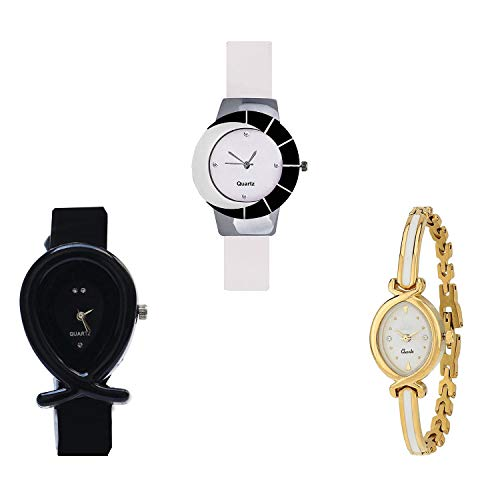 NIKOLA Fish Shape Analog White and Black Color Dial Women Watch - G11-G55-G123 (Pack of 3)
