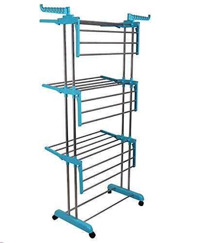 HARDI THRIVE Heavy Duty Rust-Free Stainless Steel Double Pole Cloth Drying Stand Clothes Dryer Stands Laundry Racks with Wheels for Indoor Outdoor Balcony