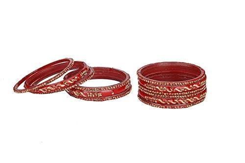 Somil Designer Glass Base Metal Traditional, Designer with Stone Red Bangles Set for Women