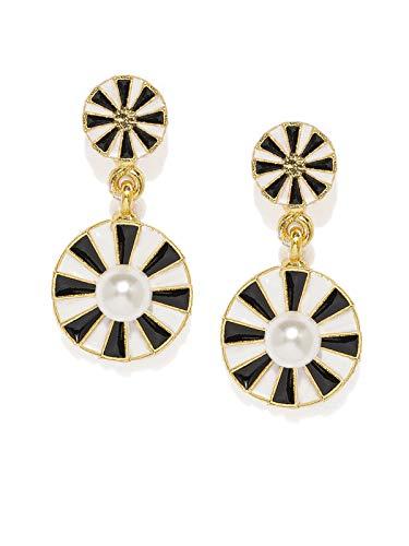 Zaveri Pearls Beautifully Enamelled Circular Contemporary Drop Earring For Women-ZPFK8922