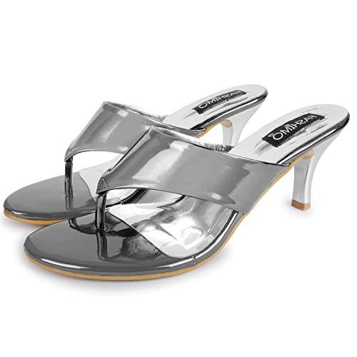 FASHIMO Women's Heels Slippers 503-silver-37